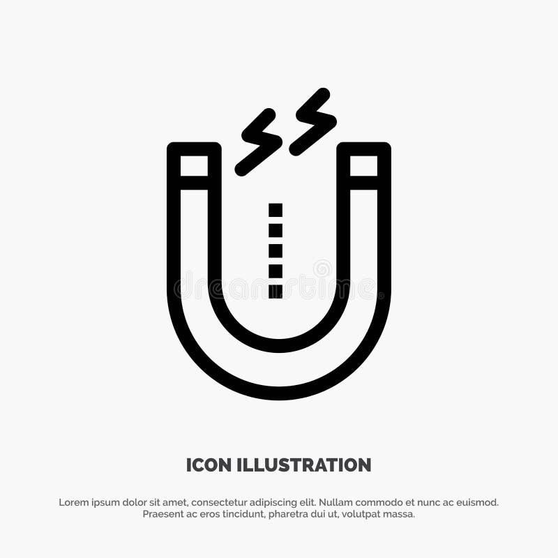 Magnes, Przyciąga, Przyciągający, Narzędziowa wektor linii ikona ilustracji