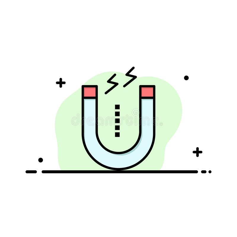 Magnes, Przyciąga, Przyciągający, Narzędziowy Biznesowy logo szablon p?aski kolor ilustracja wektor
