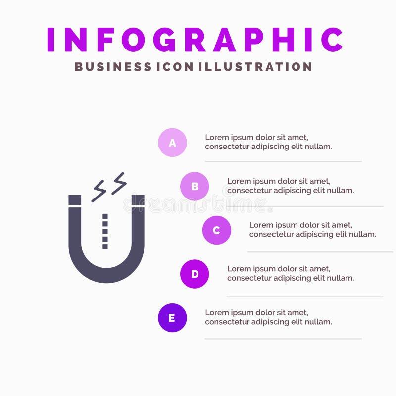Magnes, Przyciąga, Przyciągający, Narzędziowy Infographics prezentacji szablon 5 kroków prezentacja royalty ilustracja