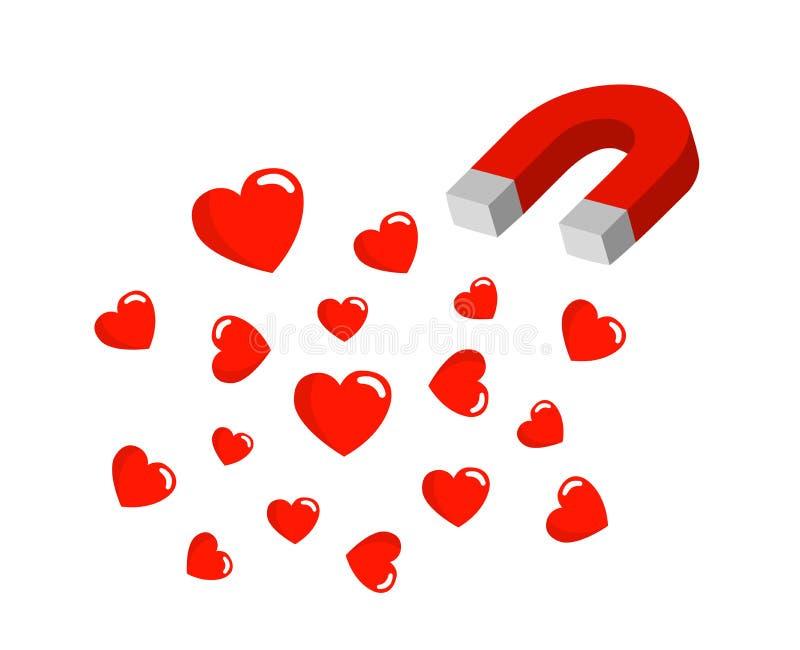 Magnes przyciąga serce w ja Władza przyciągać miłości ilustracja wektor