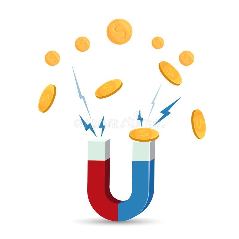 Magnes przyciąga złocistych monet wektorową ilustrację odizolowywającą na bielu ilustracji