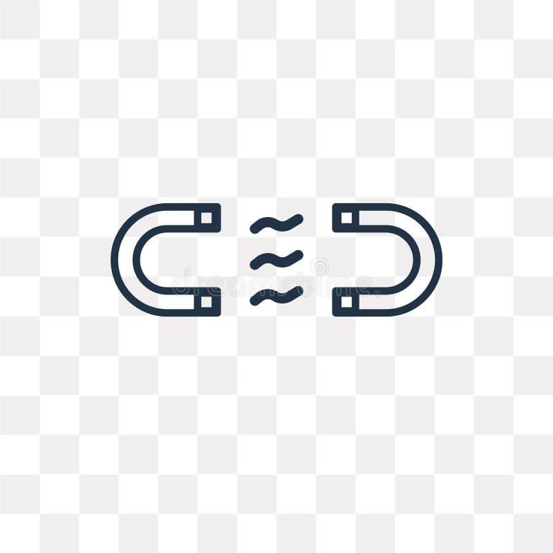 Magnes wektorowa ikona odizolowywająca na przejrzystym tle, liniowy Ma ilustracja wektor