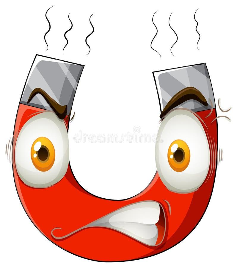 Download Magnes z gniewną twarzą ilustracja wektor. Ilustracja złożonej z ikona - 57657682