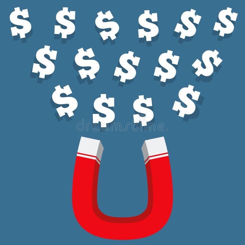 Magnes Z pieniądze ilustracji
