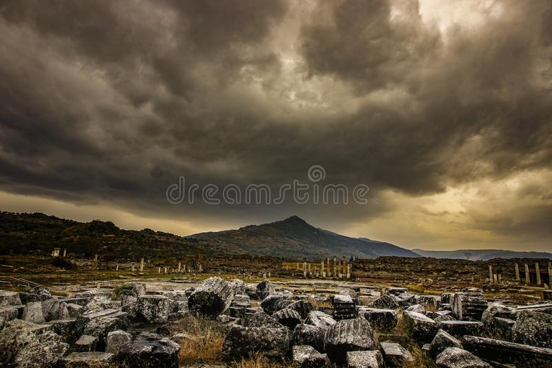 Magnesia Ancient City, Magnesium and Maeandrum. Manisa, Turkey. Dramatic atmosphere view.  royalty free stock photography