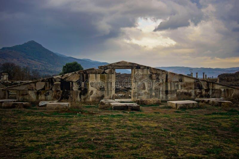 Magnesia Oude Stad, Poortdetail Magnesium en Maeandrum Manisa, Turkije royalty-vrije stock fotografie