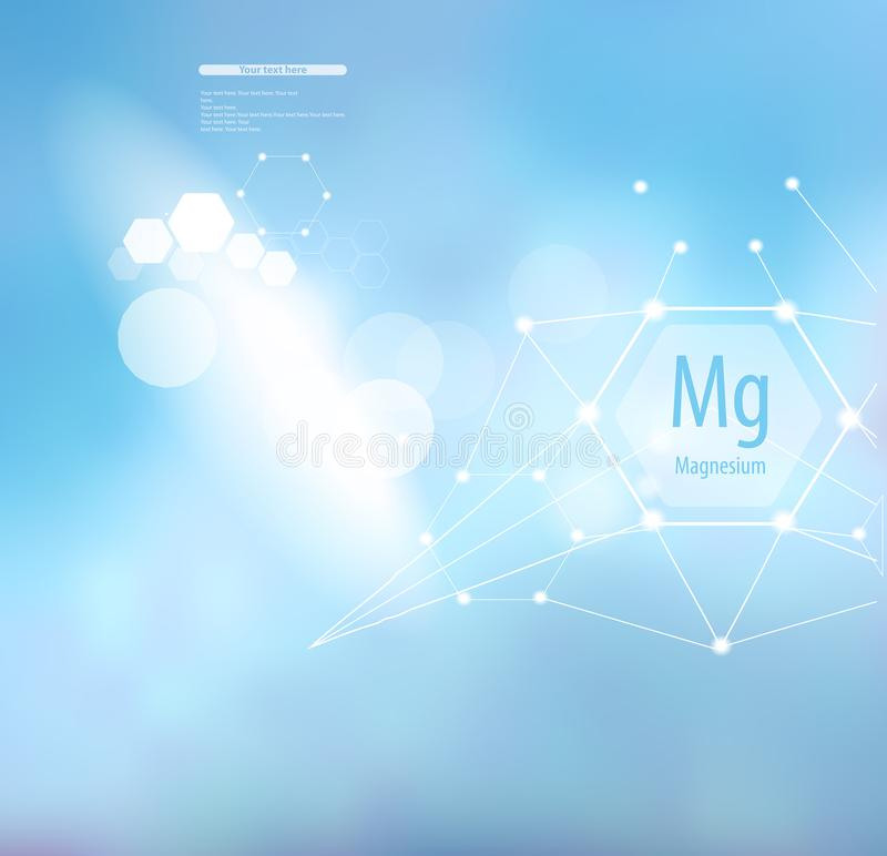 Magnesium sign and template for text. Vitamins and minerals. Magnesium. Abstract background with magnesium sign and template for text. Vitamins and minerals vector illustration