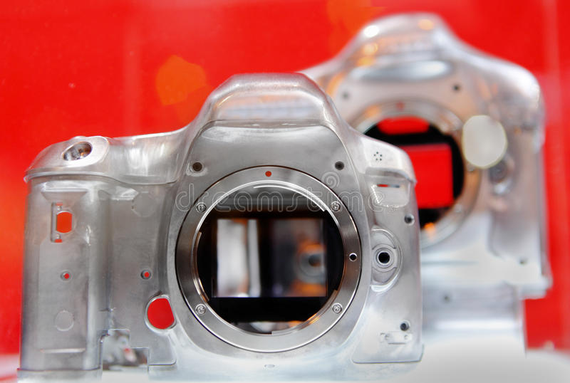 Magnesium alloy DSLR. Camera body stock photos