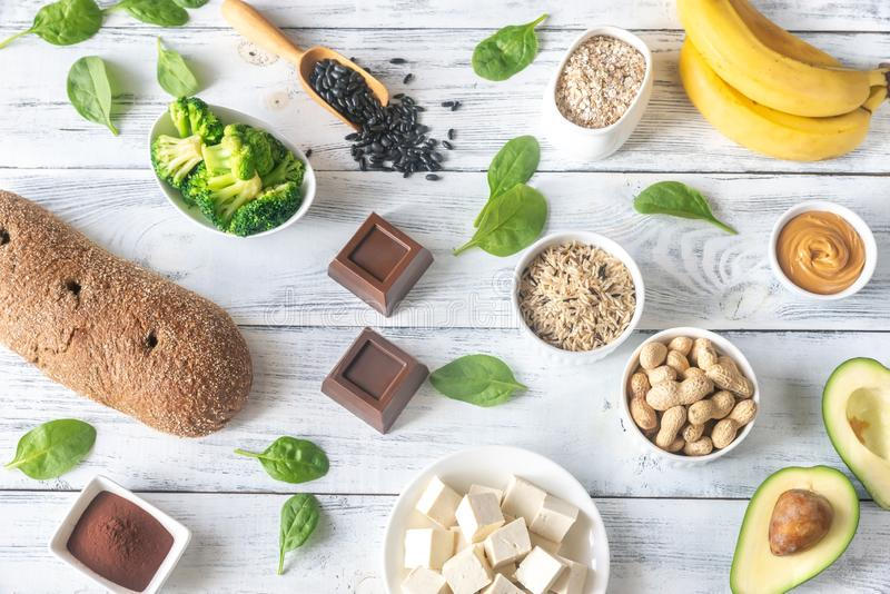 Magnesium-rich foods on the wooden table stock photography