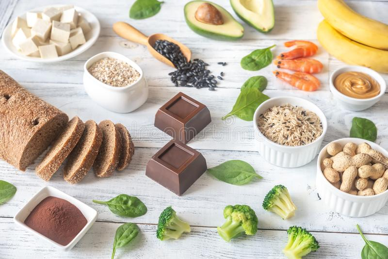 Magnesium-rich foods on the wooden table royalty free stock photo
