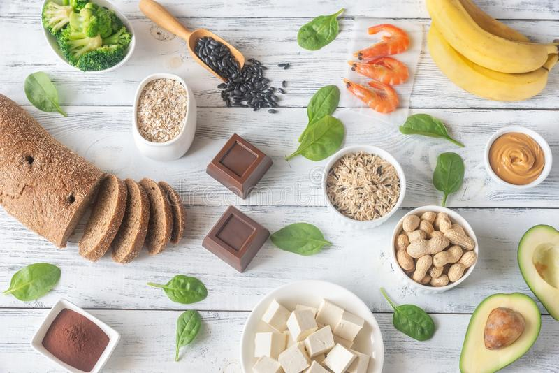 Magnesium-rich foods on the wooden table royalty free stock photos
