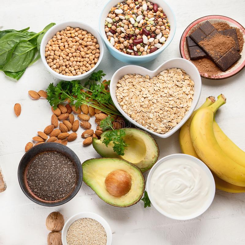 Magnesium rich foods. Top view. Healthy eating stock images