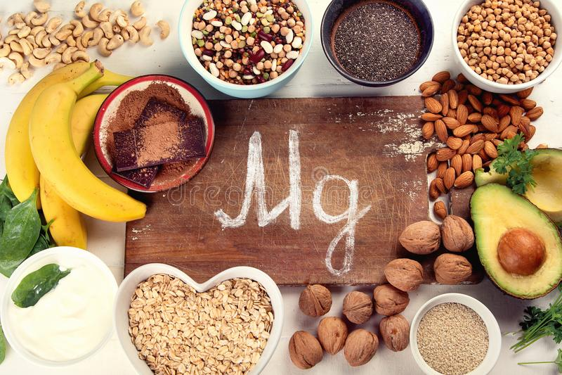 Magnesium rich foods. Top view. Healthy eating royalty free stock photography
