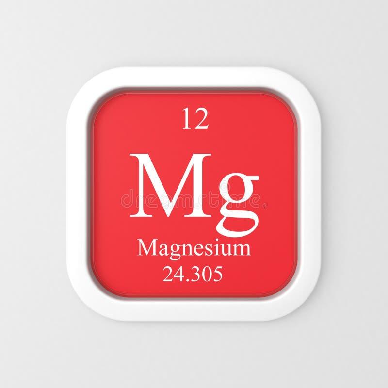 Magnesiumsymbol på röd rundad fyrkant stock illustrationer