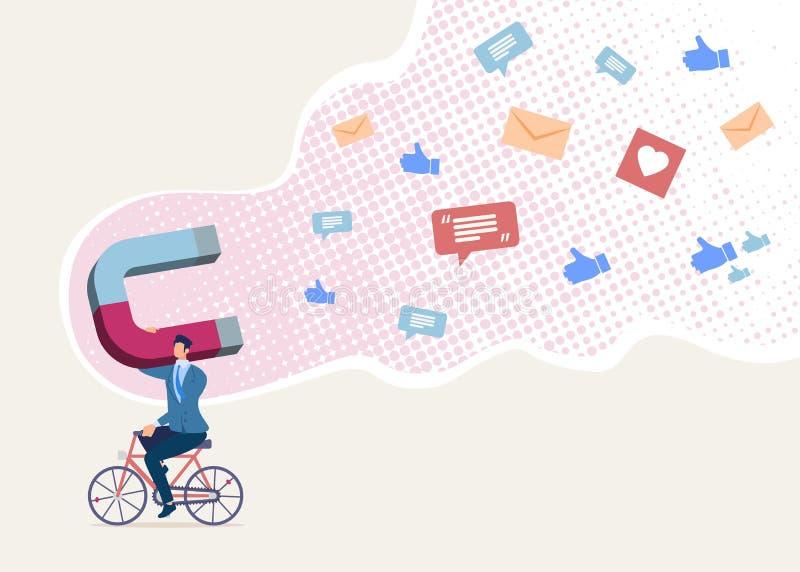 Magnesowej kampanii marketingowej Płaski Wektorowy pojęcie ilustracji