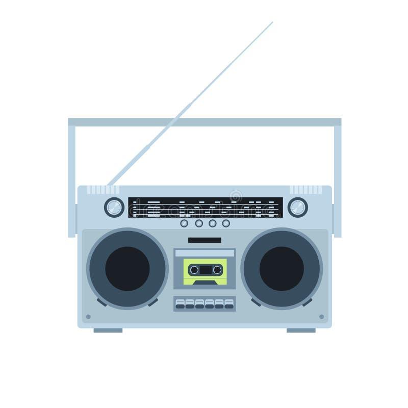 Magnesowej taśmy kasety gracz usunąć wszystkie odosobnione radio logo white roczna Frontowy widok Płaska ilustracja royalty ilustracja