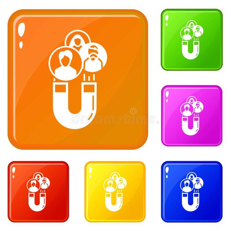 Magnesu klienta retencyjne ikony ustawiający wektorowy kolor royalty ilustracja