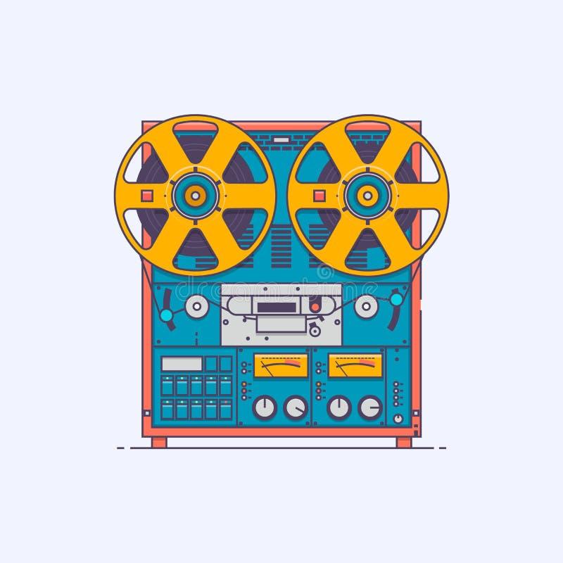 Magnetófono de casete Vector el ejemplo en la línea estilo del arte del color aislado en el fondo blanco ilustración del vector