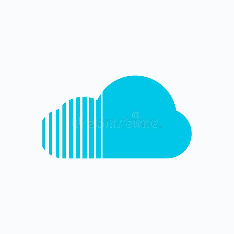 Blue cloud icon vector EPS10 stock illustration