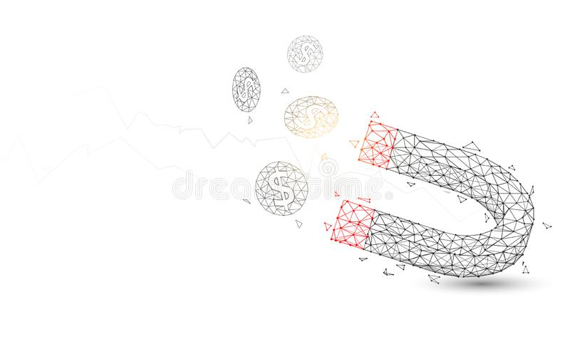 Magnet attracting coins from lines, triangles and particle style design stock illustration
