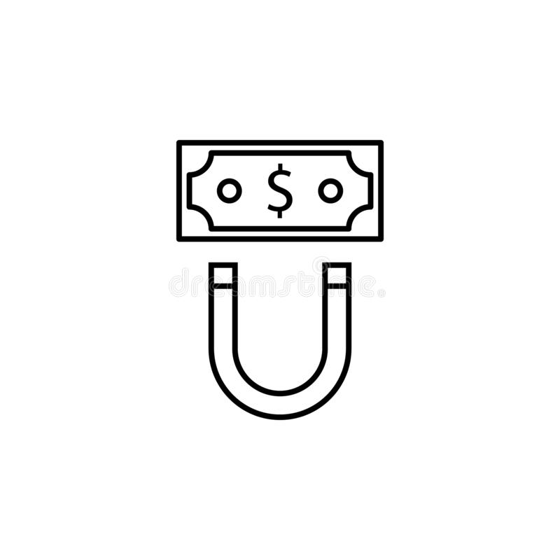Magnet, bill, dollar icon. Element of finance illustration. Signs and symbols icon can be used for web, logo, mobile app, UI, UX. On white background stock illustration