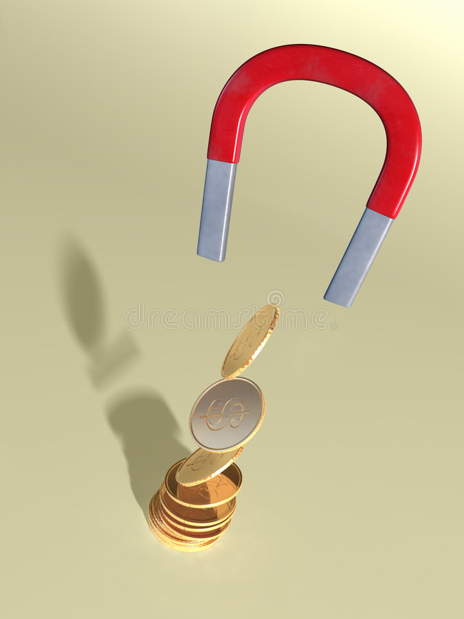 Magnet and coins. Coins attracted by a magnet. CG illustration vector illustration