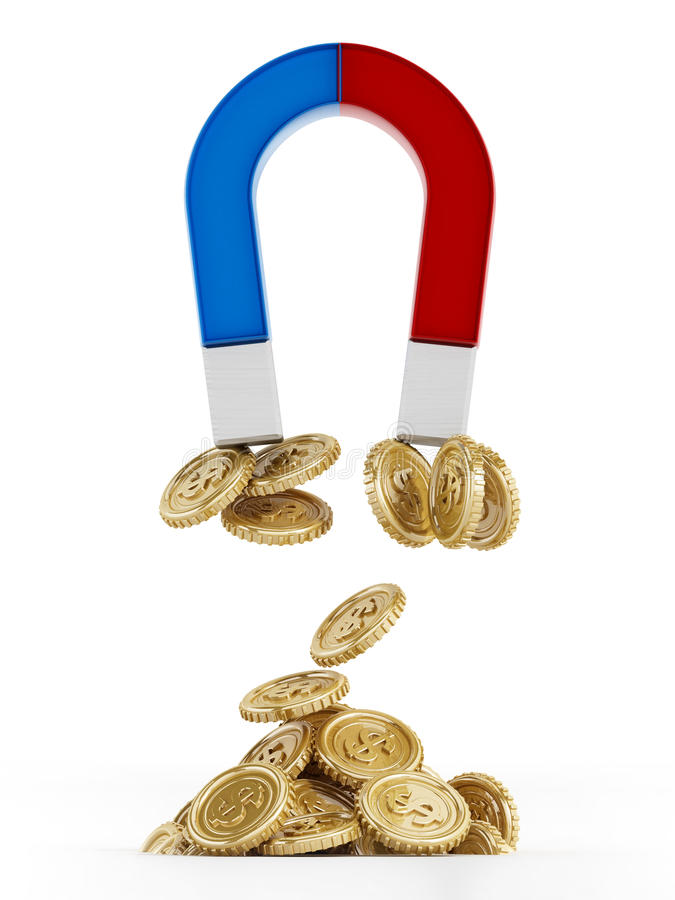 Magnet and gold coins stock illustration
