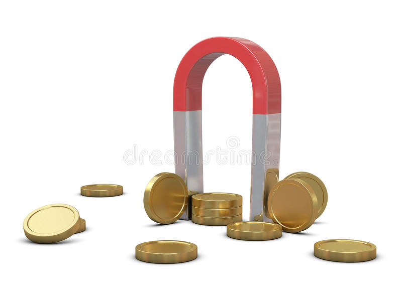 Download Magnet and golden coins stock illustration. Image of banking - 16052326