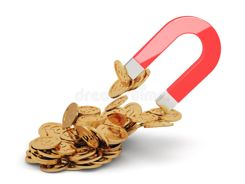 Magnet with golden coins vector illustration