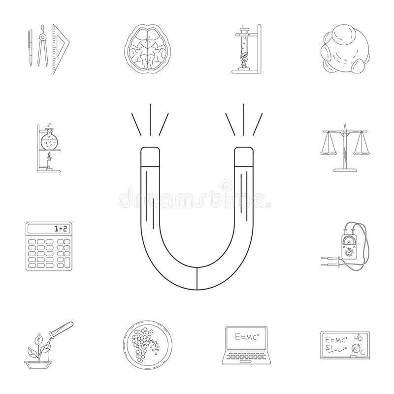 Magnet icon. Detailed set of Science and lab illustrations. Premium quality graphic design icon. One of the collection icons for w. Ebsites, web design, mobile royalty free illustration
