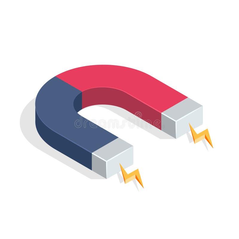 Magnet mit magnetischer Energie lokalisiert auf weißem Hintergrund Isometrische Vektor-Illustration lizenzfreie abbildung