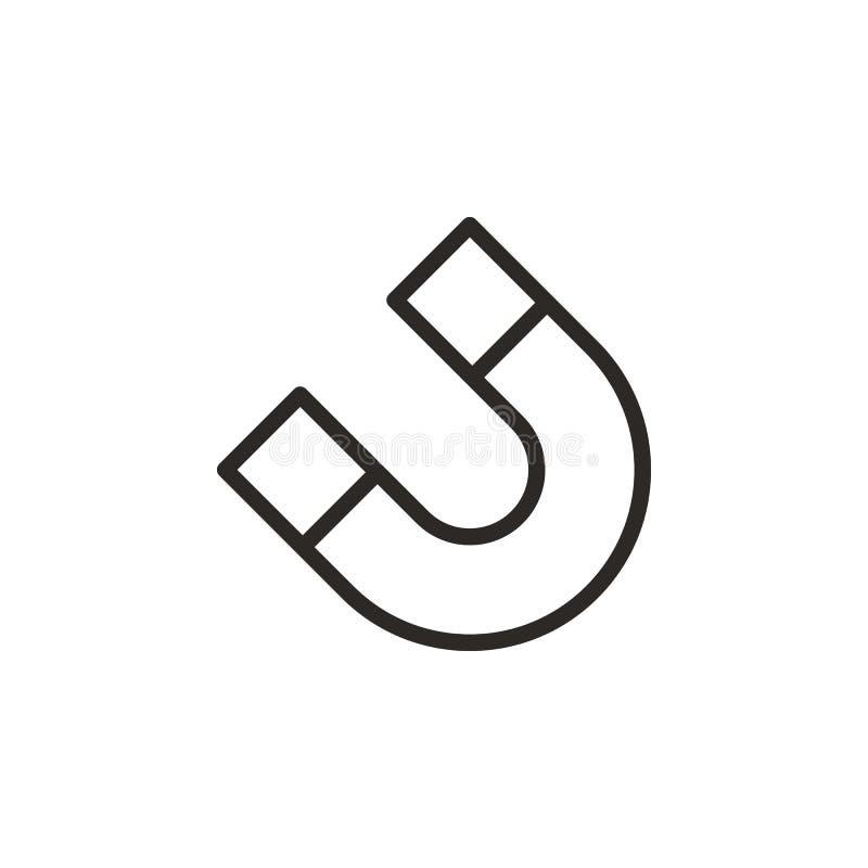Magnet plötslig vektorsymbol Best?ndsdel av designhj?lpmedlet f?r mobilt begrepp och reng?ringsdukappsvektor Tunn linje symbol f? vektor illustrationer