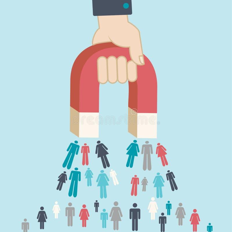 Magnet pulling people for inbound lead generation for digital ma vector illustration