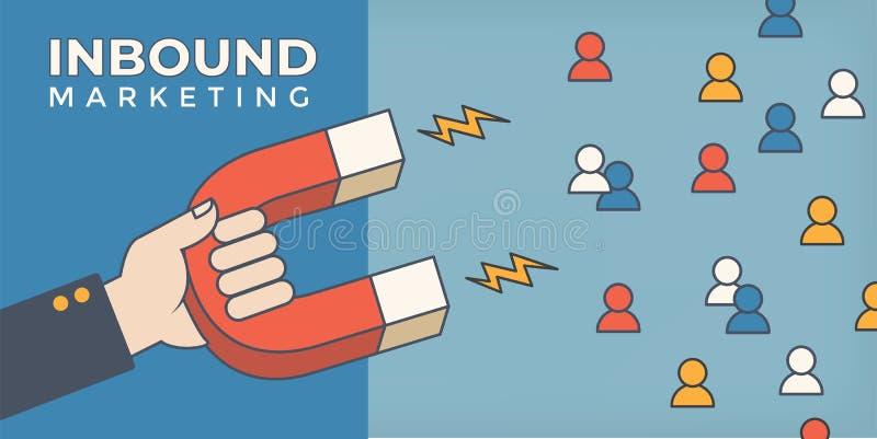 Magnet pulling people for inbound lead generation - digital marketing symbol stock illustration