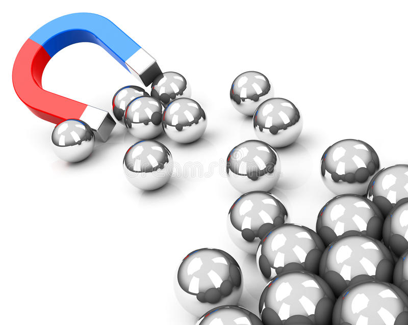 Download Magnet and spheres stock illustration. Image of attraction - 41161918