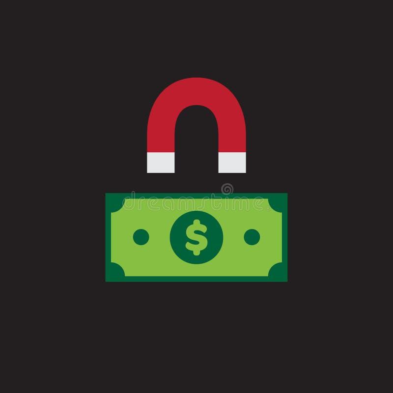 Magnet und Dollar Bill Icon lizenzfreie abbildung