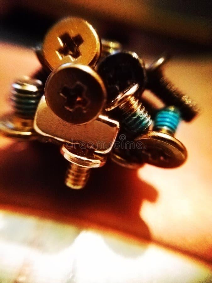 Magnet und Schrauben stockfotos