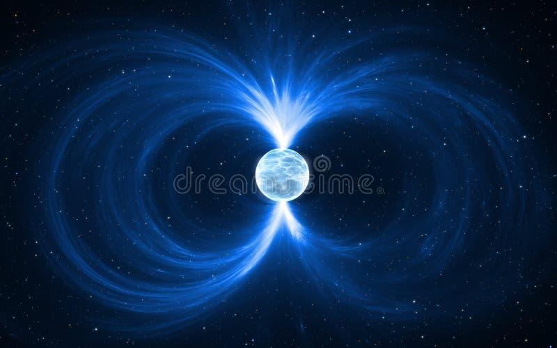 Magnetar - Neutronenstern im Weltraum Für Gebrauch mit Projekten auf Wissenschaft, Forschung und Bildung vektor abbildung
