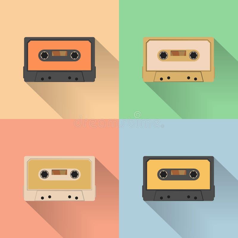 Magnetband- für Tonaufzeichnungenikone der Weinlese, Retrostil, Vektorillustration lizenzfreie abbildung