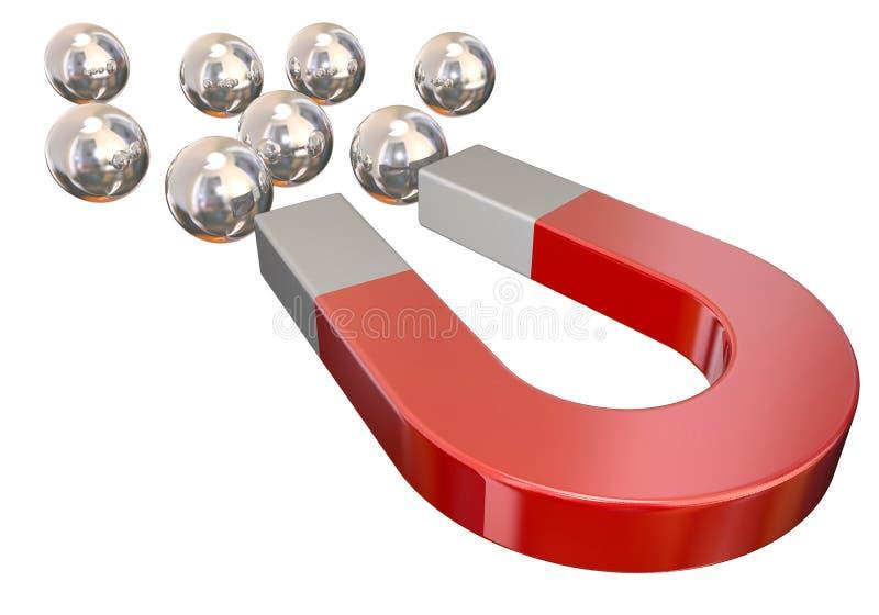 Magnete che tira l'attrazione fisica dei cuscinetti a sfera fotografie stock