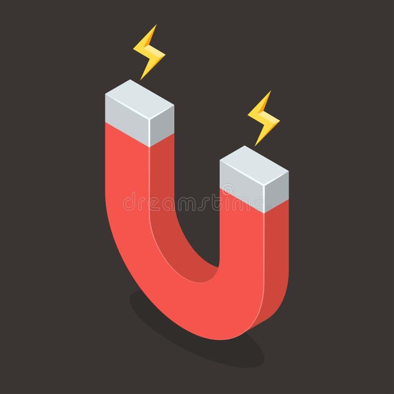 Magnete con potere magnetico Illustrazione isometrica di vettore illustrazione di stock