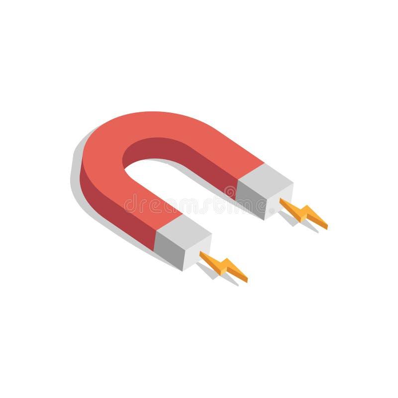 Magnete con potere magnetico isolato su fondo bianco Illustrazione di vettore illustrazione di stock