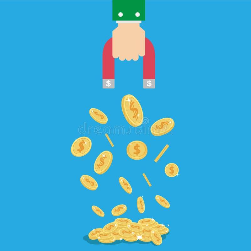 Magnete della moneta dei soldi nel concetto della mano dell'uomo d'affari illustrazione di stock