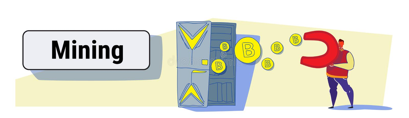 Magnete della tenuta dell'uomo che tira le monete del bitcoin dal concetto cripto estraente di valuta della stanza del server del illustrazione vettoriale