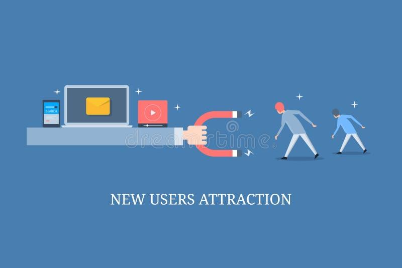 Magnete della tenuta della mano, attirante i nuovi clienti, strategia di marketing digitale, attenzione afferrante dell'utente, v illustrazione vettoriale