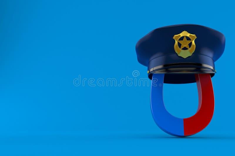 Magnete a ferro di cavallo con il cappello della polizia illustrazione vettoriale