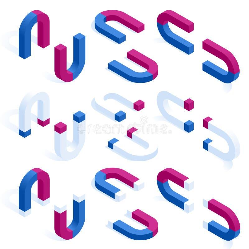 Magnete a ferro di cavallo rosso e blu isometrico o insieme magnetico di fisica isolato su bianco Progettazione dell'icona del ma illustrazione vettoriale