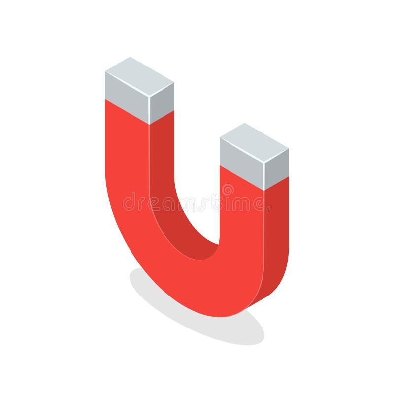 Magnete isolato su priorità bassa bianca Illustrazione isometrica di vettore illustrazione di stock
