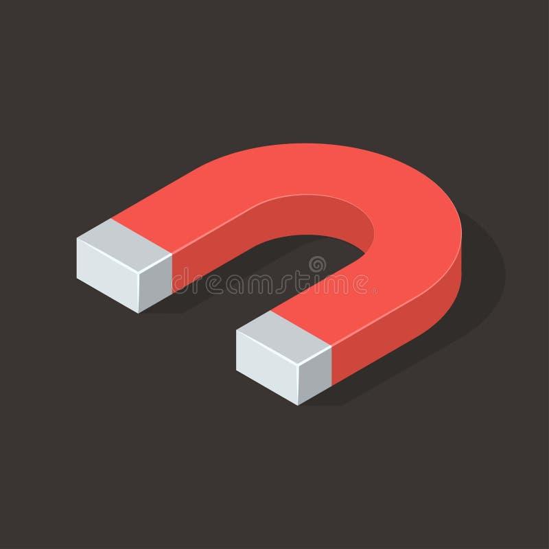Magnete sul fondo di Brown Illustrazione isometrica di vettore illustrazione vettoriale