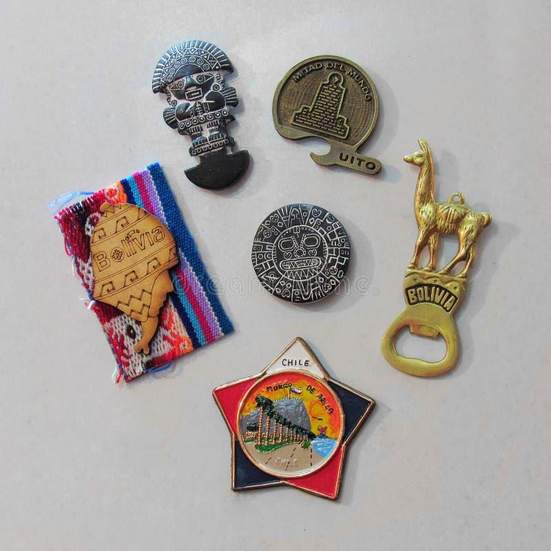 Magneten für die Kühlschrankandenken von Südamerika stockfoto
